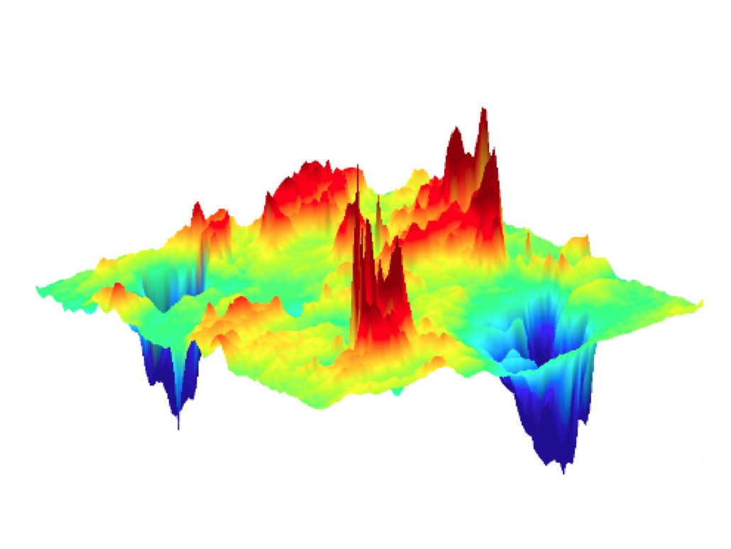 Map of anticorrelated defects in optimized copper oxide superconductor. Red peaks correspond to the best organized distortions of the underlying atomic lattice while blue valleys represent oxygen defect order.